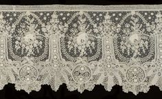 A FLOUNCE OF POINT DE GAZE LACE  BRUSSELS, SECOND HALF OF THE 19TH CENTURY  worked with needle lace motifs appliqué to handmade net  9 x 189in. (23 x 430cm.)  Sold for over $ 2,000