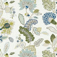 Addison Blue Fabric by the Yard is mineral, indigo & green Jacobean floral printed on soft, off-white cotton/linen blend. Available in one-yard increments.