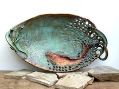 """OOAK. Functional, oriental style, decorative bronze oval dish with """"Swimming golden fish with a green lizard sitting on edge.."""