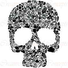 floral mexican halloween sugar skull by creativestencils on etsy - Mexican Halloween Skulls