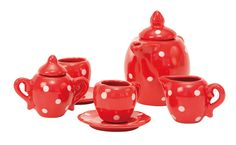 Red Ceramic Tea Set from La Grande Famille #632400 #moulinroty #magicforesttoys
