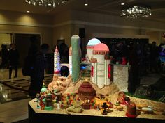 Six villages, one for each movie, each entirely made of candy, chocolate, dough, icing, almond paste and lots o' hot glue