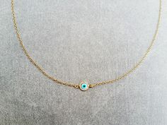 Evil eye choker,tiny evil eye,vermeil choker,dainty choker,delicate necklace,minimal gold choker, mother of pearl