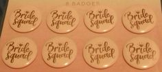 8 x Bride Squad pink badges for Hen night & party   #Unbranded Badges, Glitter Tattoo Set, Hens Night, Fundraising, Squad, Charity, Bride, Tattoos, Pink
