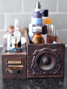 old drawers as perfume and hair product storage