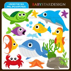 13 graphic elements of under the sea / underwater theme. Perfect for your party invitations, craft projects, paper products, stationery, scrapbooking, web designs, stickers and many more!