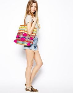 ASOS | ASOS Woven Shopper Bag With Beads And Pom Poms at ASOS