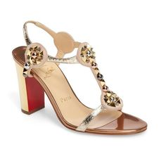 Women's Christian Louboutin Kaleitop Embellished Block Heel Sandal (€935) ❤ liked on Polyvore featuring shoes, sandals, metallic gold, red t strap sandals, heeled sandals, red sandals, red shoes and christian louboutin shoes