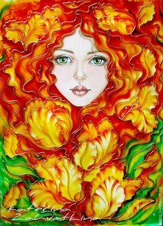 """Купить Картина """"Рыжая Кэт"""" - рыжий, девушка, тюльпаны, Витражная роспись, картина в подарок"""