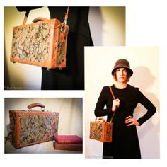 This unique suit case is in great vintage condition. Made in Italy (Originally from Sardegna), it features a green/blue/pink tapestry exterior, and a brown interior with a large pocket. Closes with two large silver claps, and even locks (keys included!). It also has a long adjustable/detachable leather strap.  https://www.etsy.com/listing/179373126/vintage-suitcasetraincase