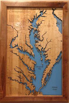 Chesapeake Bay Virginia / Maryland wood laser cut coastal map framed wall hanging by PhDs on Etsy https://www.etsy.com/listing/210565998/chesapeake-bay-virginia-maryland-wood