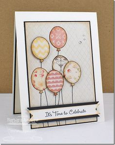 handmade card: It's Time To Celebrate ... grouping of paper pieced balloons in soft neutrals ... lovely ... My Favorite Things ...