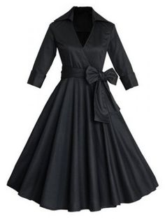 45d9e97d59807 Vintage Turn-Down Collar Solid Color Waist Lace-Up Dress For Women Robe  Retro