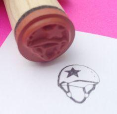 Roller Derby Jammer Helmet Rubber Stamp.