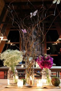 Centerpieces - baby's breath, willow & butterflies