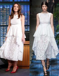 Keira Knightley wearing s/s 2015 Erdem on the Tonight Show Starring Jimmy Fallon, November 2014.
