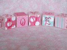 Alphabet Baby Blocks Pink/Green/Blue 2x2 by JaimeesCreations, $22.00