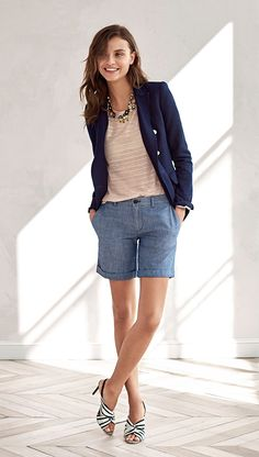 524027720d Add a chic touch to your style with our perfectly versatile tailored  chambray Bermuda shorts.