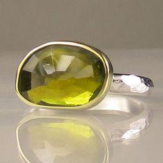 Rose Cut Green Tourmaline Ring
