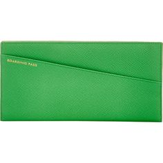 Smythson Panama Slim Travel Wallet ($430) ❤ liked on Polyvore featuring bags, wallets, green, slim wallet, smythson, travel wallet, shoulder bags and green wallet