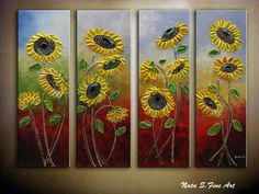 Decorate your home and office with the most unique wall art painting by Nata S. Title: Sunflowers Miniature size: 36 x 48 4 canvas (each 36 x 12 or 91.5 x 30.5 cm)) MEDIUM: Acrylic, Impasto COLORS: Yellow, Orange, Red, Blue, Green... CANVAS: 0.75 Gallery Wrapped Canvas, the sides