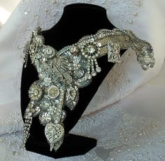 Custom Wedding Necklace, personalized statement piece, vintage couture, MADE to ORDER, Victorian Noir bridal necklace.