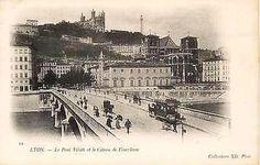 Lyon France 1902 Tilsitt Bridge Fourviere Hillside Antique Vintage Postcard