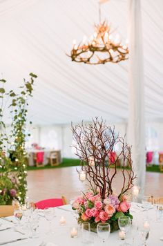 pink centerpiece with branches