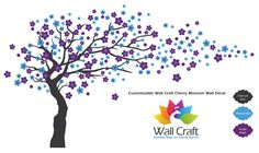 Wall Craft Cherry Blossom Wall Sticker in Charcoal Grey, Purple Magic, and Ethereal Blue.