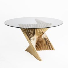Tertrud Dining table - Gold Metal Dining Table With Round Glass Top http://www.franceandson.com/tertrud-dining-table-gold.html