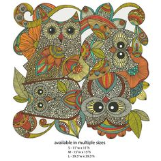 Owl Art Wall Sticker Decal – 4 Owls by Valentina Harper