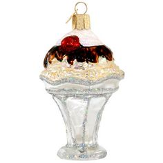 Ice Cream Sundae Glass Ornament
