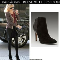 Reese Witherspoon in black suede ankle boots by Rosegold