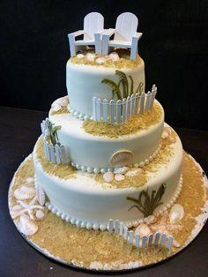 I love this cake id have mini cupcakes all around it as well and adirondack chairs beach theme wedding cake the cake zone florida junglespirit Images