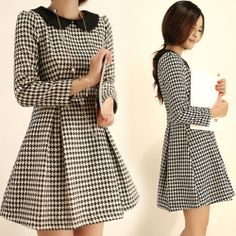 This is new vintage style dress.  Length: Mini  Neckline: Peter Pan Collar  Sleeve Length: Long Sleeves  Pattern Type: Plaid  Season: Fall, Spring  Weight: 0.8KG  Size: S, M  Please write note for size and color when ordering.