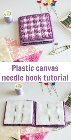 Free easy beginner plastic canvas pattern and tutorial for a needle book Plastic Canvas Stitches, Plastic Canvas Coasters, Plastic Canvas Books, Plastic Canvas Crafts, Free Plastic Canvas Patterns, Plastic Canvas Christmas, Plastic Canvas Ornaments, Canvas Designs, Needle Book