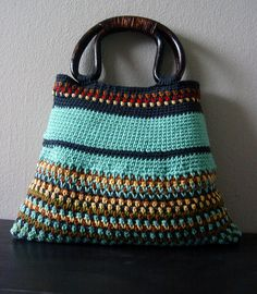 Crochet Bag-LOVE Crochet Saco, Crochet Tote, Cosas A Crochet, Diy Crochet, Love Crochet, Crochet Crafts, Crochet Projects, Interweave Crochet, Crochet Purses