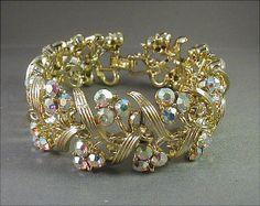 Vintage Crystal Aurora Rhinestone Bracelet by JBPacrat on Etsy, $24.00