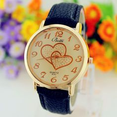 Hot hothot 1PC Fashion Women Numerals Faux Leather Band Analog Quartz Wrist Watch Free Shipping at19