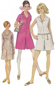 Playsuit style dress or inverted pleat mod style dress. Vintage 1960s #patternpatter