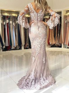 Elegant Lace Mermaid Prom Dresses V Neck Long Sleeves Formal Evening Party Gowns Long Sleeve Evening Dresses, Evening Party Gowns, Prom Dresses Long With Sleeves, Women's Evening Dresses, Cheap Prom Dresses, Formal Dresses, Party Dresses, Dress Long, Mermaid Prom Dresses Lace