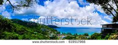 High view from Phuket View Point for tourist travel in holiday for see Kata Noi Beach, Taken from Small Viewpoint. Phuket Thailand . Panorama