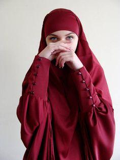 Robe de longue soie Khimar musulman Burqa Bordeaux mariage