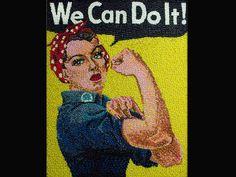 """Cartaz de propaganda """"We Can Do It"""" recriado com jujubas"""