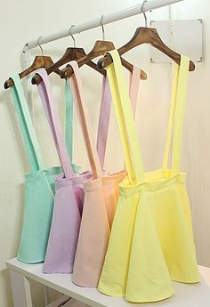 Pastel coloured circular skirts with braces