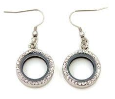 Rhinestone embellished silver locket earrings Small locket will hold charms Made of Alloy Locket Bracelet, Silver Lockets, Decoration, Serendipity, Drop Earrings, Bracelets, Gifts, Charms, Jewelry