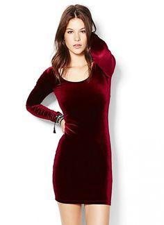 Velvet long sleeve mini dress