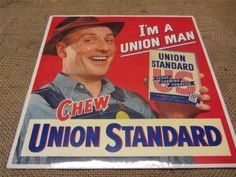 Vintage-Union-Standard-Chewing-Tobacco-Display-Sign-Antique-Old-Chew-Signs-9220