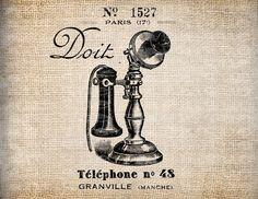Antique French Telephone Shop Paris Illustration Digital Download for Tea Towels, Papercrafts, Transfer, Pillows, etc Burlap No 6385. $1.00, via Etsy.