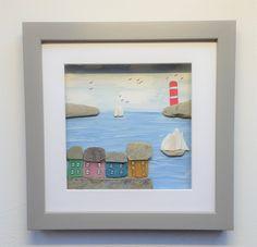 created from beach finds including sea glass and sea shells Cornish Beaches, Coastal Wall Decor, Cottage Art, Coastal Homes, Unique Home Decor, Box Frames, Illustration Art, Illustrations, Sea Glass